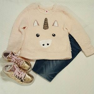 TG super soft and fuzzy sequin unicorn top